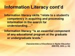 information literacy cont d