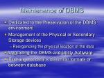 maintenance of dbms