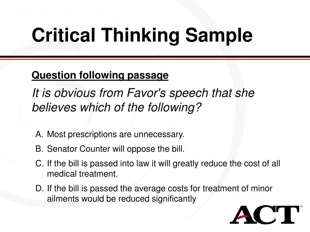 Critical Thinking Sample