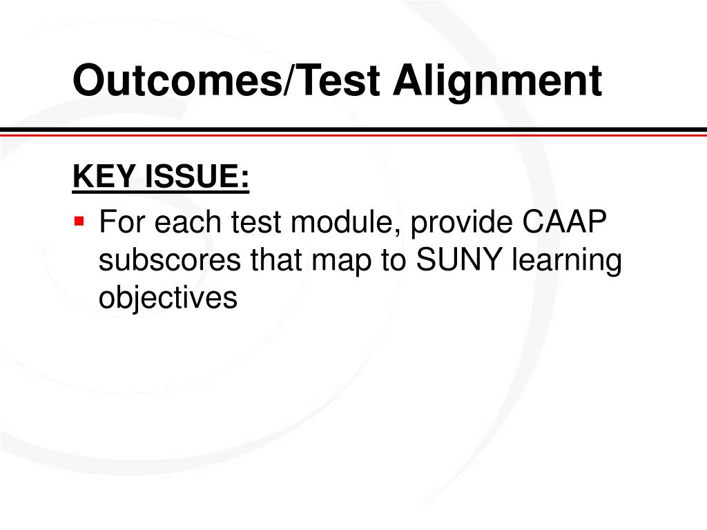 Outcomes/Test Alignment