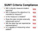 suny criteria compliance