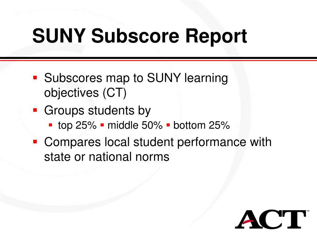 SUNY Subscore Report