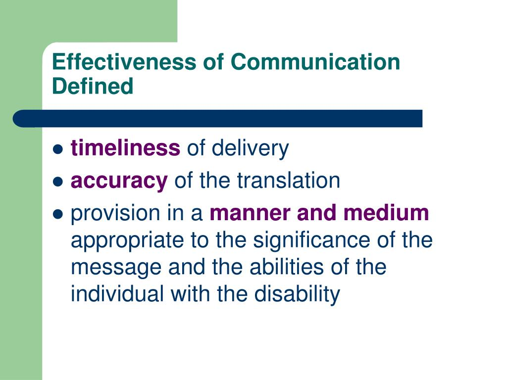 Effectiveness of Communication Defined