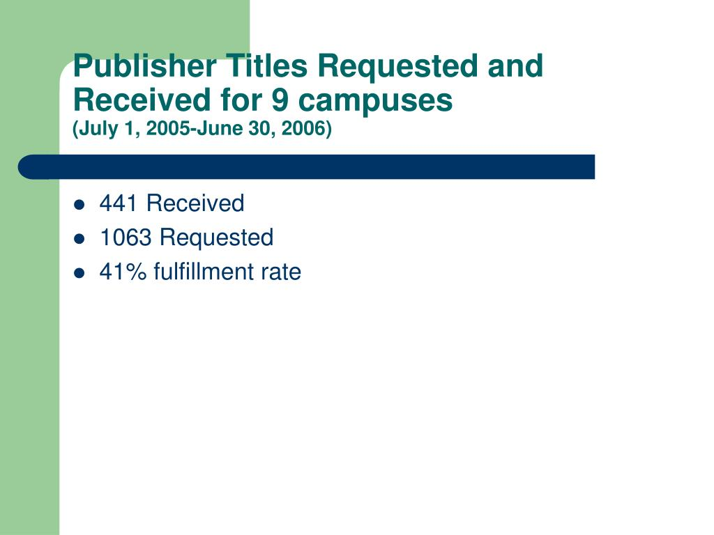 Publisher Titles Requested and Received for 9 campuses
