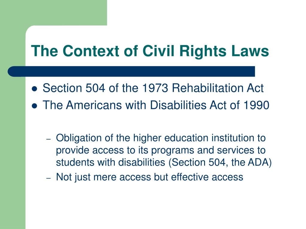 The Context of Civil Rights Laws