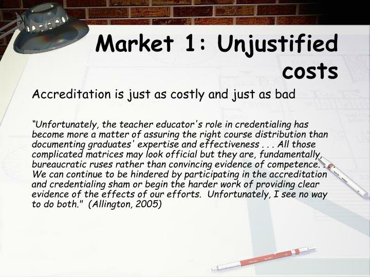 Market 1: Unjustified costs