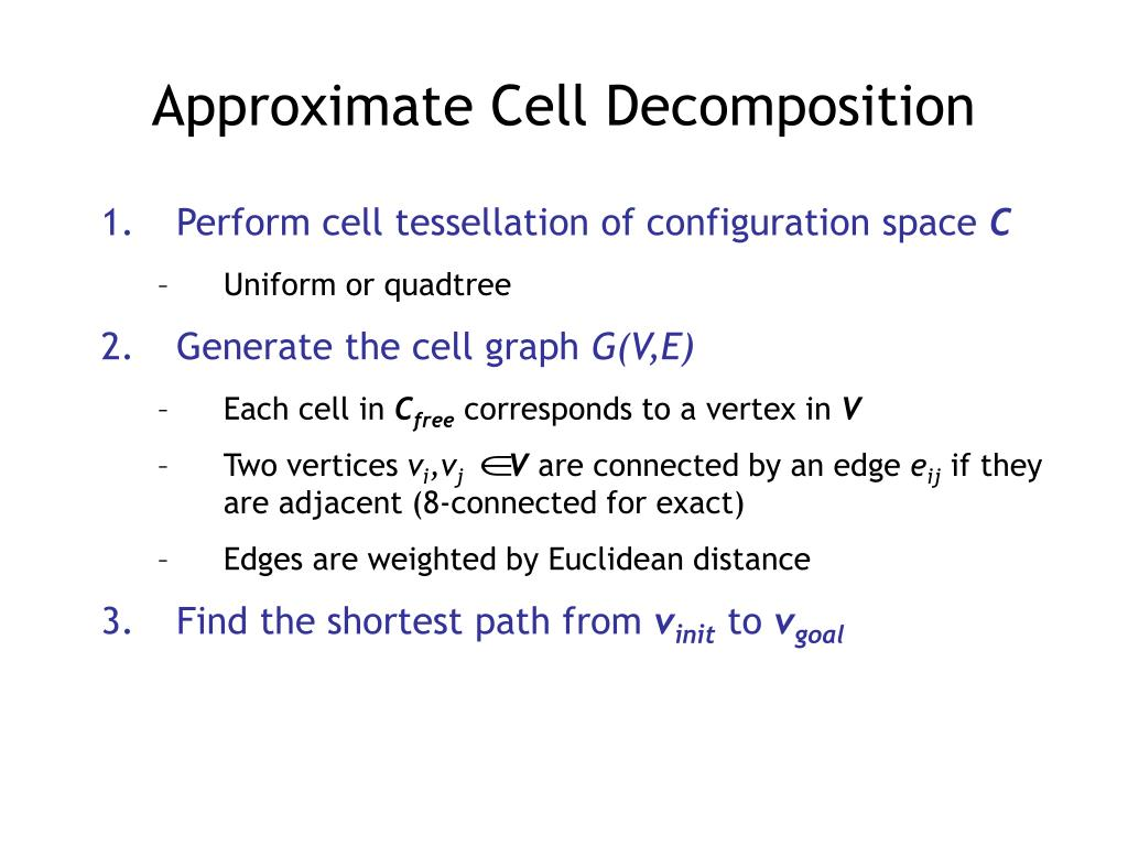 Perform cell tessellation of configuration space