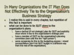 in many organizations the it plan does not effectively tie to the organization s business strategy