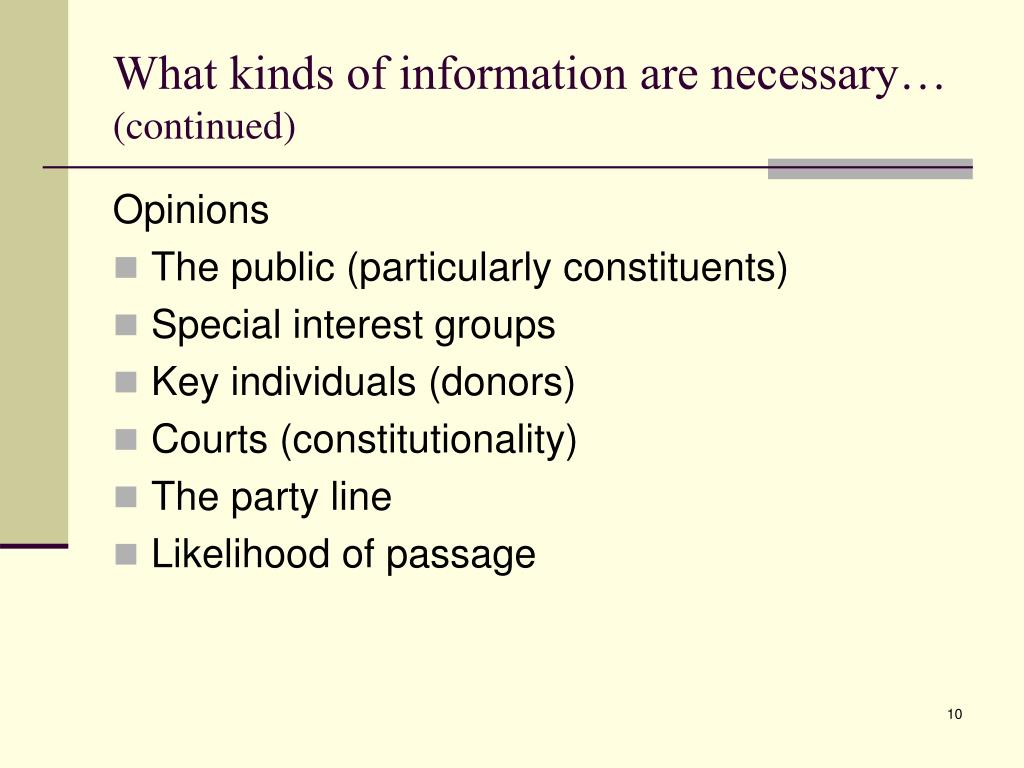 What kinds of information are necessary…