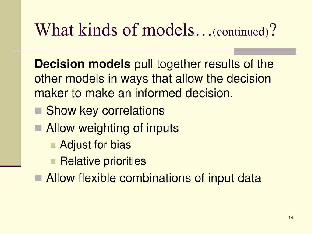 What kinds of models…