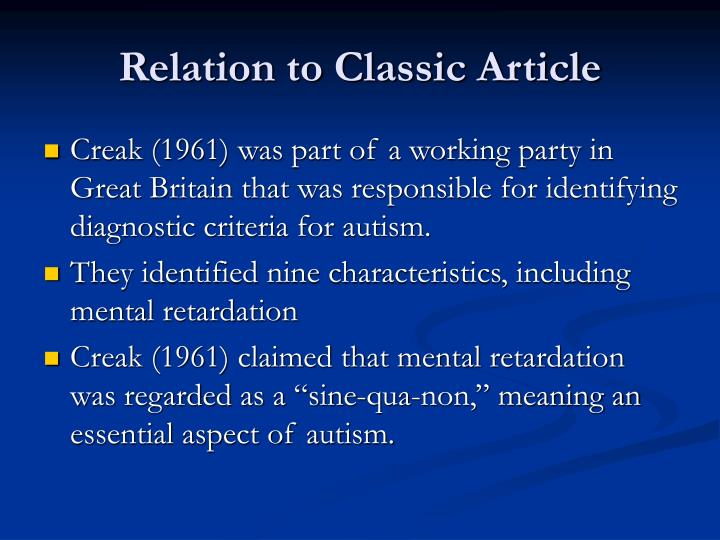 Relation to classic article