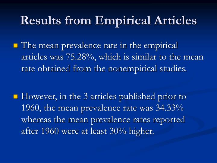 Results from Empirical Articles