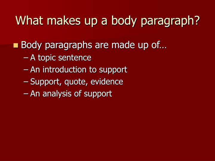 What makes up a body paragraph
