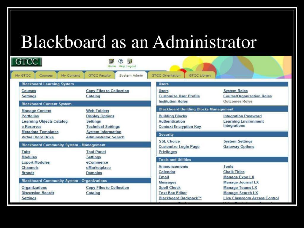 Blackboard as an Administrator