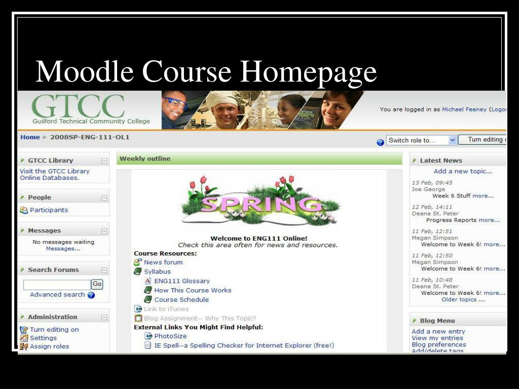 Moodle Course Homepage