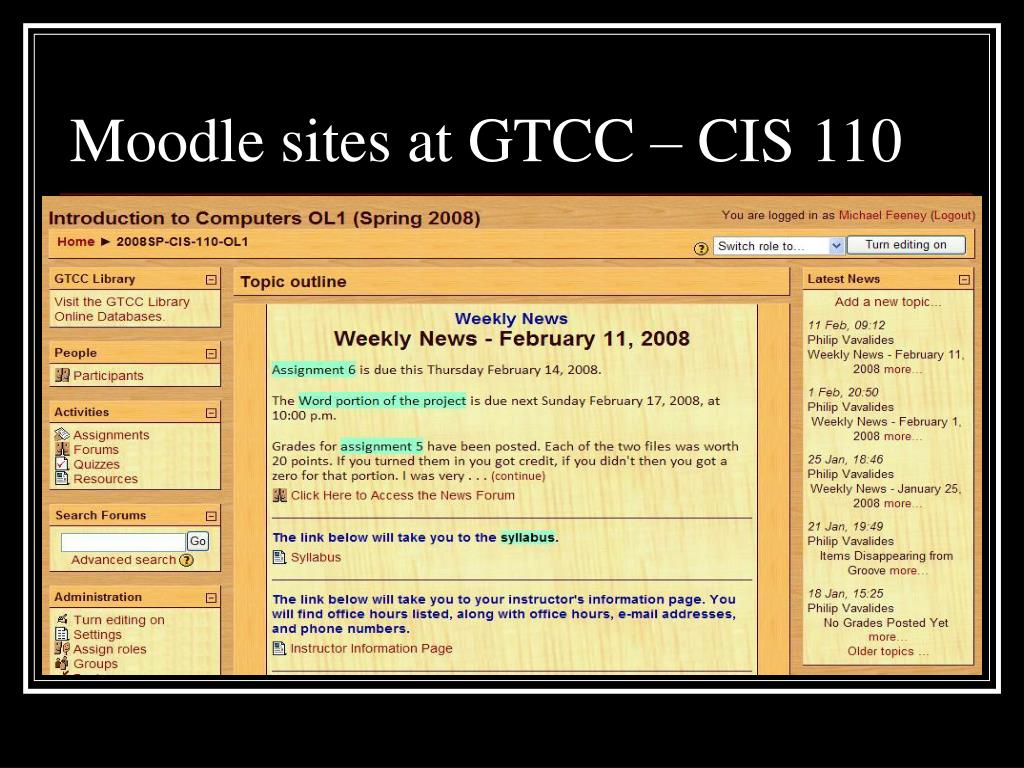 Moodle sites at GTCC – CIS 110