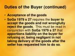 duties of the buyer continued