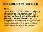 duties of the seller continued