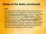 duties of the seller continued1