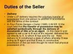 duties of the seller