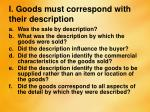 i goods must correspond with their description