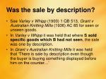 was the sale by description