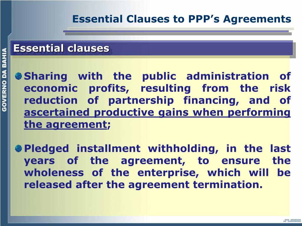 Essential Clauses to PPP's Agreements