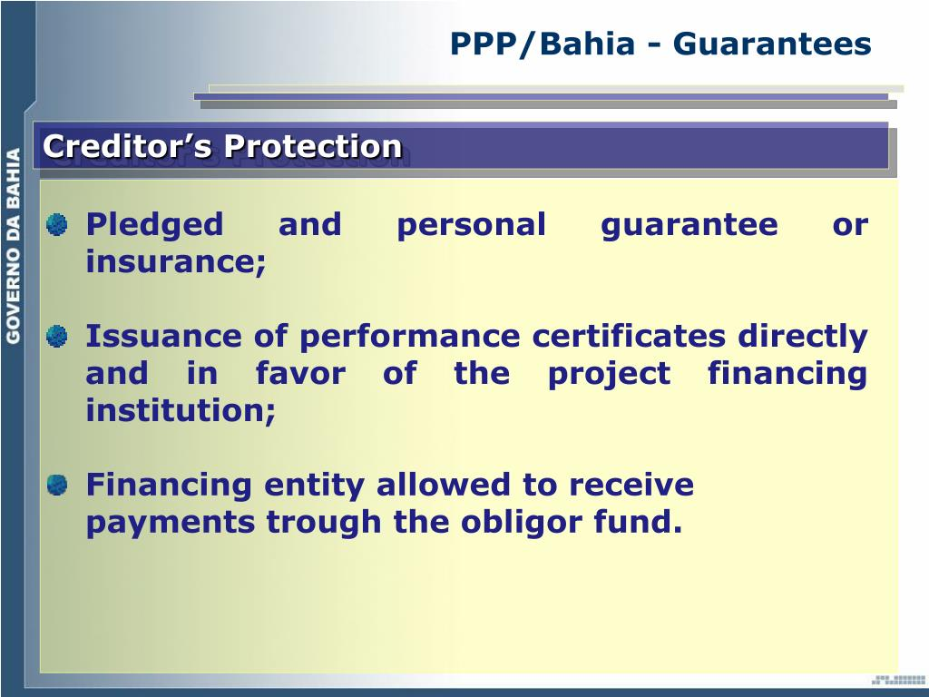 PPP/Bahia - Guarantees