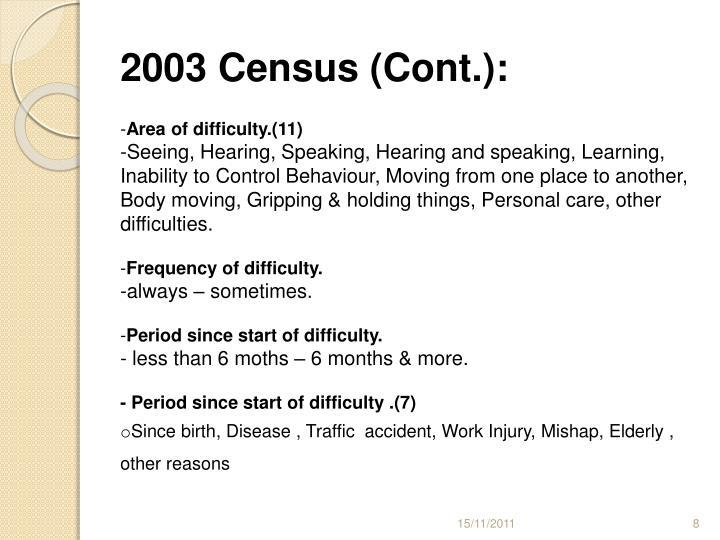 2003 Census (Cont.):