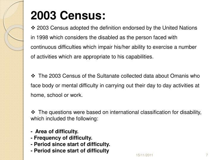 2003 Census: