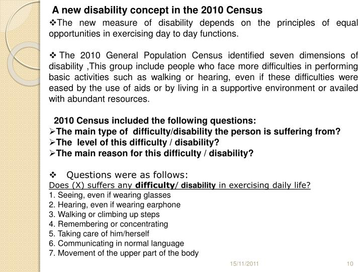 A new disability concept in the 2010 Census
