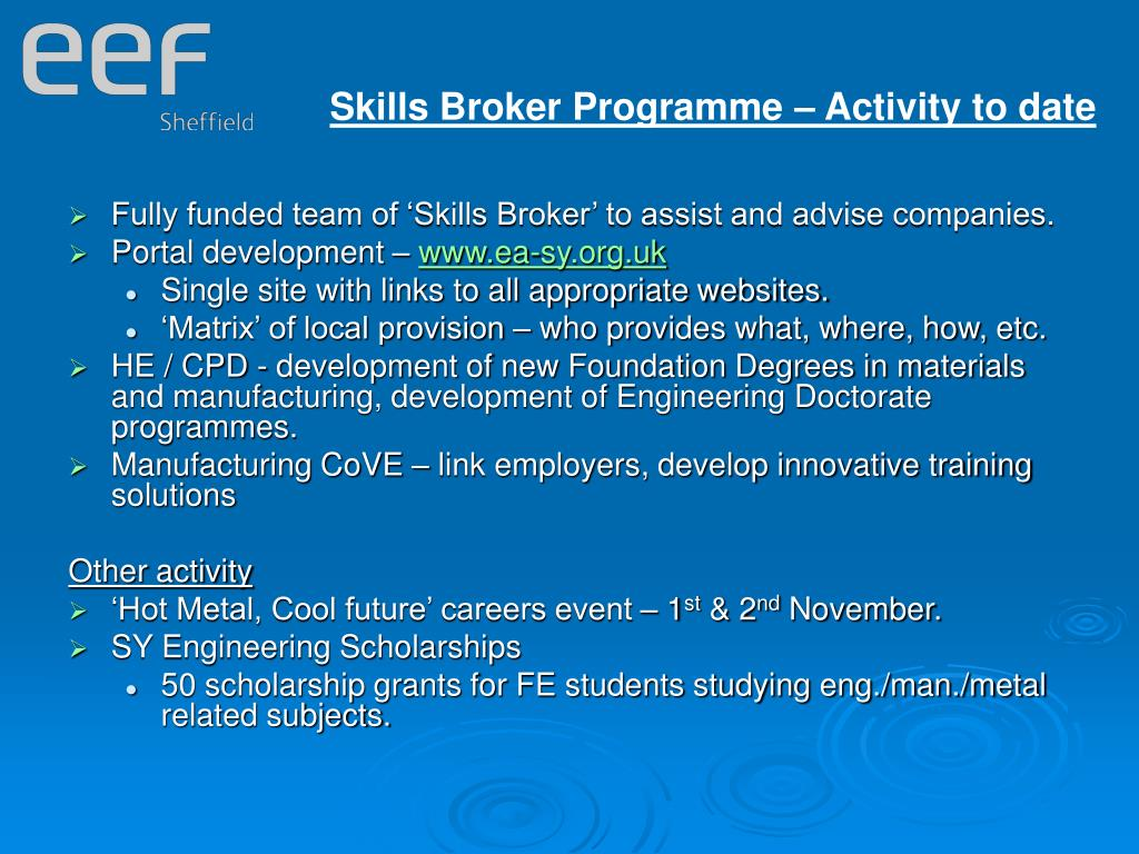 Skills Broker Programme – Activity to date