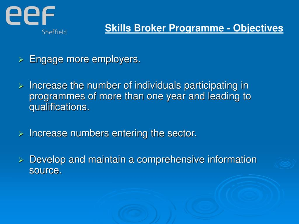 Skills Broker Programme - Objectives