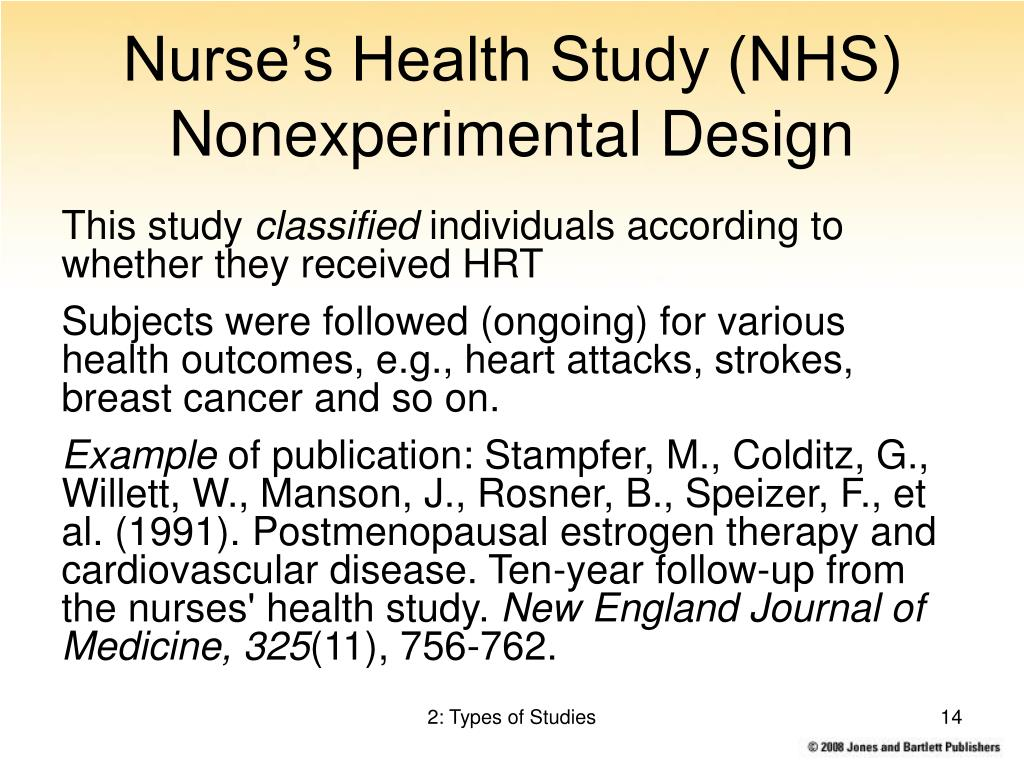 Nurse's Health Study (NHS) Nonexperimental Design