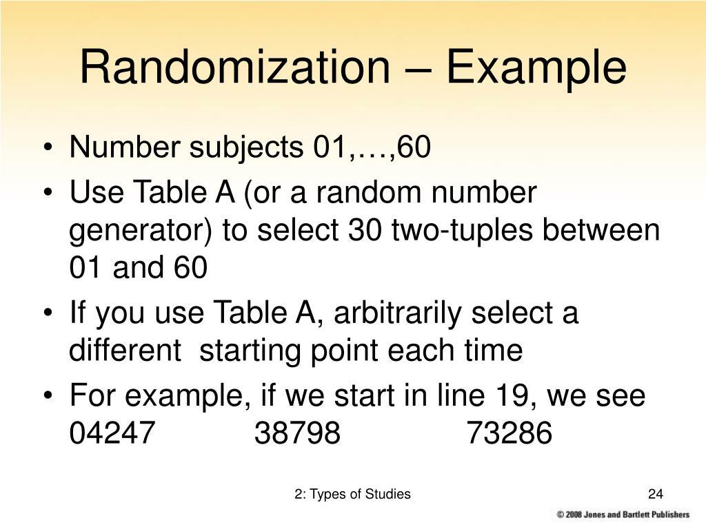 Randomization – Example