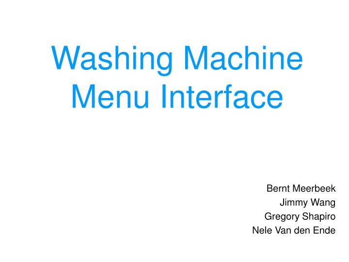 washing machine menu interface n.