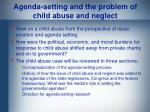 agenda setting and the problem of child abuse and neglect