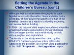 setting the agenda in the children s bureau cont
