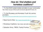 how do i find shelters and homeless coalitions