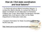 how do i find state coordinators and local liaisons