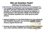 who are homeless youth defining homelessness