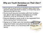 why are youth homeless on their own continued