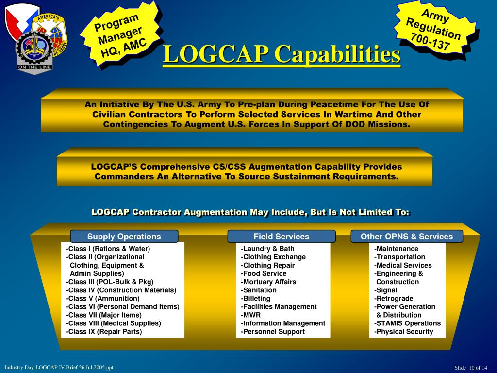 PPT - LOGCAP OVERVIEW BRIEFING FOR INDUSTRY DAY-LOGCAP IV 26
