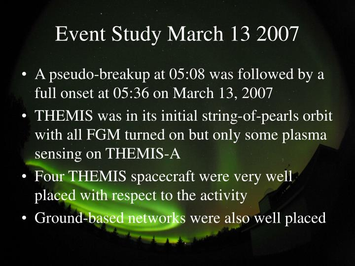 Event Study March 13 2007