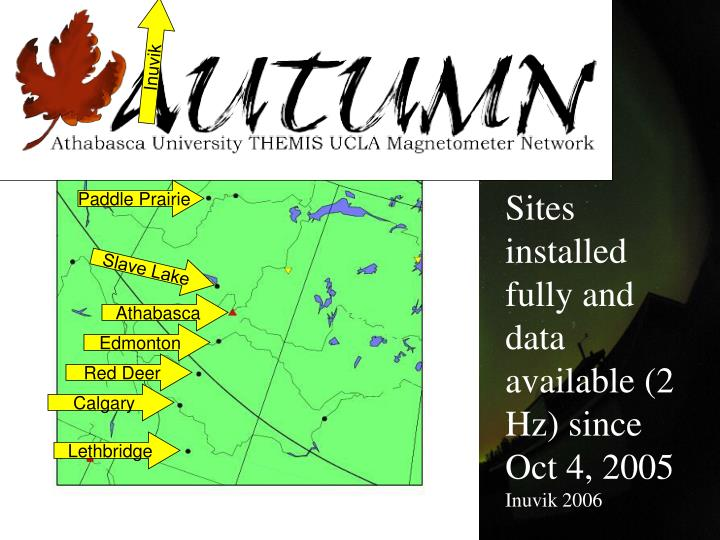 Sites installed fully and data available (2 Hz) since Oct 4, 2005