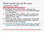 what would you do for your university life