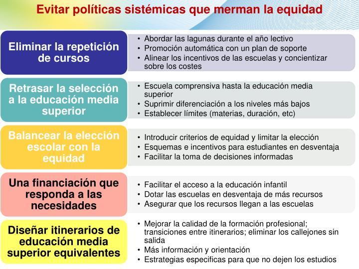 Evitar políticas sistémicas que merman la equidad