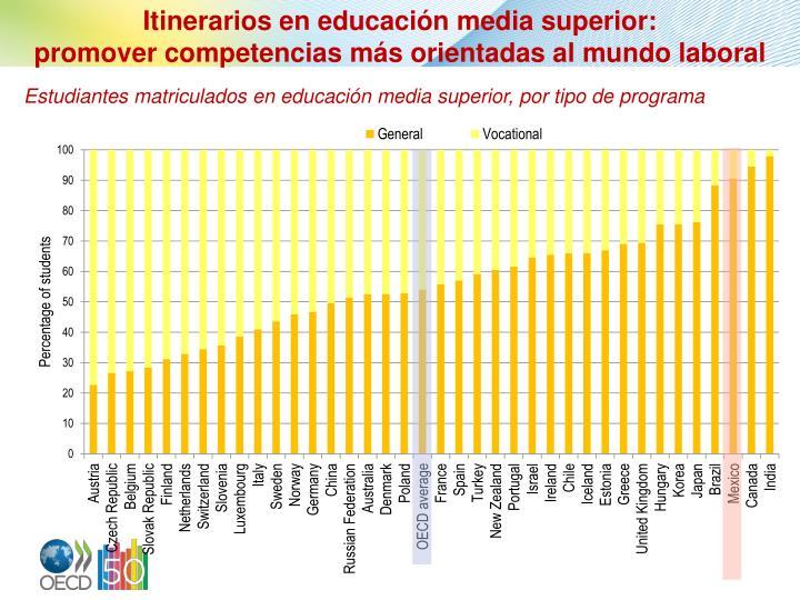 Itinerarios en educación media superior: