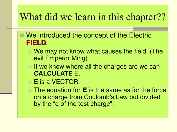 What did we learn in this chapter??