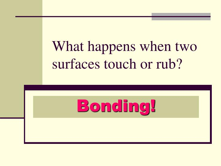 What happens when two surfaces touch or rub?